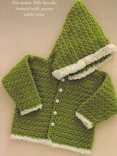Crochet Pattern ~ BABY JACKET HOODIE Sweater ~ Instructions