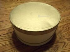 """Vintage Penneys Flesh and Gold Hat Box only good for decor 13 3/4"""" x 6 3/4"""" tall"""