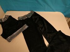 KIDS DANCE WEAR CICCI COSTUME BLACK SILVER TRIM TOP & BOTTOMS SMALL