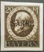 "German Bavaria Sarre 1920 ""MH"" Signed BPP SAARBRÜCKEN Very Rare # 102"