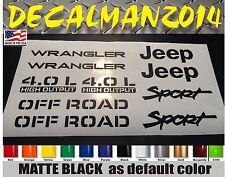 Jeep Wrangler  Sport Vinyl Stickers vinyl  Decals set YJ TJ 4.0L   10 piece set