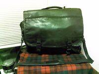 Colombian Leather Black Messenger Laptop Shoulder Briefcase Attache Carry-on Bag