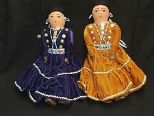 "LOT OF 2 SPANISH/MEXICAN DOLLS WOMEN PURPLE & BROWN DRESSES W/BEADS 10"" TALL"