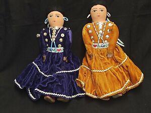 "LOT OF 2 NAVAJO NATIVE AMERICAN DOLLS WOMEN PURPLE BROWN DRESSES BEADS 10"" TALL"
