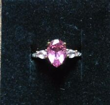 FLAMINGO TOPAZ PINK SAPPHIRE AND DIAMOND 9CT YELLOW GOLD RING  N