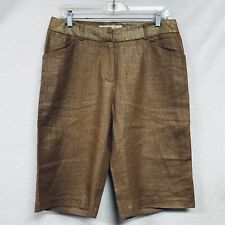 Balinger Gold Womens Shorts High Waisted Linen Vintage- a4 Metallic Bronze SZ 6