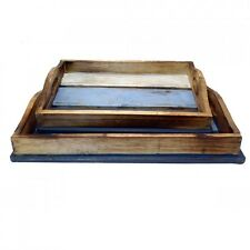 2 Blue Nesting Set Tray Small Lap Trays Tea Coffee Breakfast Wooden Decor Gift