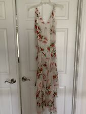NWOT Express Celia Birtwell White Floral Silk Maxi Long Dress Size 4