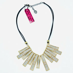 Betsey Johnson Gold Statement Collar Crystal Necklace NWT