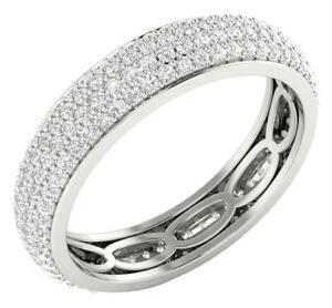 VVS1 E 1.75 Ct Natural Diamond Eternity Ring 4.85 MM 14K White Gold Appraisal