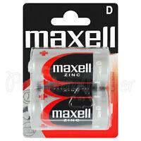 2 x Maxell D size batteries Zinc R20 MN1300 UM1 Torcia Mono Low/Constant Drain