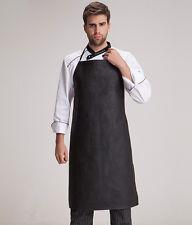 Men Women Faux Leather Bib Apron Waterproof Kitchen Restaurant Cooking Aprons