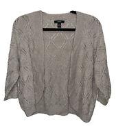 ALFANI Cardigan Open Front Sweater Knit Crop Shrug Tan Top Women's Size Large