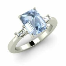 Three Stone Engagement Ring with 1.51 Cttw Aquamarine in Solid 14k White Gold