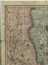 Leicester 1858 Folding Map Cruchley's Coloured Engraved Victorian Map