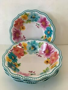 """Set of Three (4) Pioneer Woman ~ Melamine ~ Breezy Blossoms ~ 7.5"""" Cereal Bowls"""