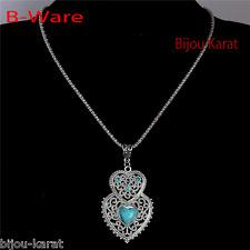B-Ware Fashion Herz Kette Halskette Türkis Perlen Strass Silber Anhänger Vintage