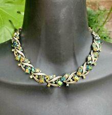Coro Vintage Green Aurora Borealis Crystal Collar Necklace Corocraft