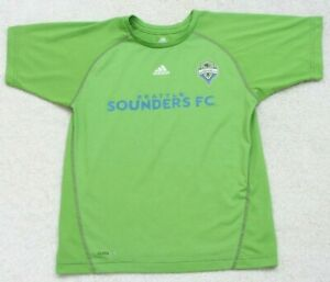 Adidas Green Blue Sounders T-Shirt Tee Top Solid Medium Polyester Seattle Soccer