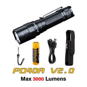 Fenix PD40R v2 USB-C Rechargeable 3000lms Portable Flashlight Torch + Battery