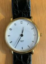 Beckwer M&Co. Ladies Goldtone Wristwatch with Black Leather Crocco Band