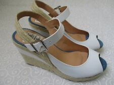 THEME WHITE PEEP TOE WEDGE SHOES SIZE 9 W - NEW