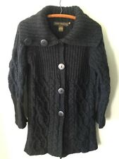 Womens INIS CRAFTS Dark Gray Wool Cable Knit Long Button Cardigan Sweater Coat M