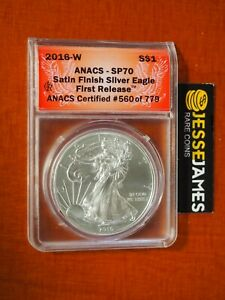 2016 W BURNISHED SILVER EAGLE ANACS SP70 FR '30TH ANNIVERSARY' LETTERED EDGE