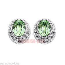 Coppia Orecchini Da Donna Cristallo SWAROVSKI Elements Ovale Verde OR60