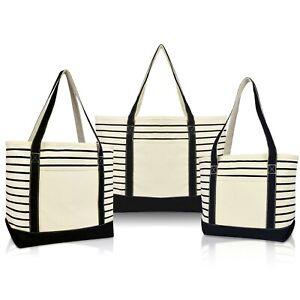 DALIX Stripe Tote Shoulder Bag Deluxe Cotton Canvas Set of 3