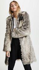 Helmut Lang Wolf Faux Fur Multi Grey Leather Trims Size M Women's Coat
