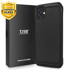 For Apple iPhone 11, Pro, Max, Phone Case TJS Impact Carbon Fiber+Tempered Glass
