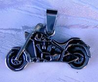 ANHÄNGER EDELSTAHL BIKE MASSIV  STAINLESS STEEL ROCKABILLY ROCKER BIKER SHOPPER