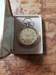 800 Silber Cortebert WatchTaschenuhr mit schönem Uhrwerk mit Etui+Revision
