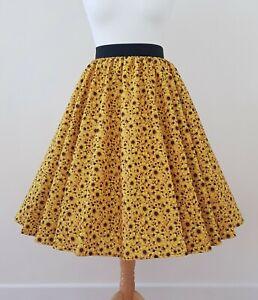 1950s Circle Skirt Yellow Daisy Sunflower - Size 12 - Rockabilly Floral Summer