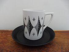 Portmeirion Pottery Black Dimond Coffee Cup & Saucer  2