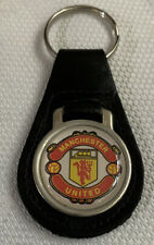 Manchester United Football Club Leather And Metal Keyring Key Fob