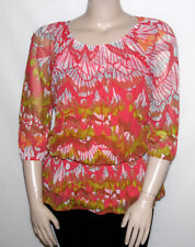 NEW INC International Concepts Plus 0X Feather-Print Peasant Top Multi-color