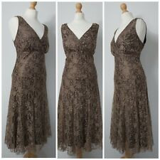 TWIGGY COLLECTION 14 16 Bronze Wiggle Mermaid Lace Mother Of The Bride Dress VGC