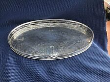 Very Nice Small Size Silver Plated Chased Gallery Drink Tray