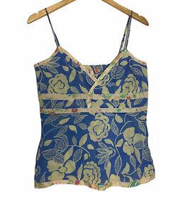 Anthropologie Eloise Silk Cotton Floral Camisole Tank Top V Neck Size Medium