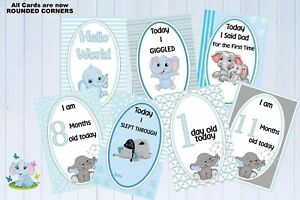Baby Milestone Cards Elephants Blue Boys Pkt of 35 printed on 300gsm photo prop