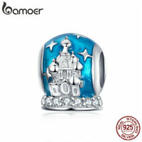 BAMOER Women CZ Charm 925 Sterling Silver Blue crystal ball Fit Bracelet Jewelry