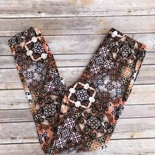 Brown Tan Geometric Paisley Women's Leggings PS Plus Size TC 12-20 Soft as LLR
