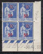 FRANCE COIN DATE BLOC DE 4 TIMBRE NEUF N° 482 TYPE PAIX SURCHARGE