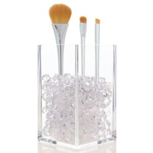 Makeup Brush Cube Clear Faceted Diamond Beads Cosmetic Vanity Desk Pen Organizer