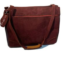 Halston For Hartmann Vintage 70's Luggage Carry on Bag Burgundy Suede