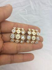 Swan signed Swarovski crystal White Enamel Gold tone clip on earrings