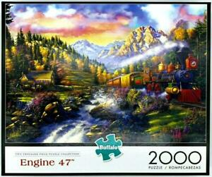 2000 PIECE JIGSAW PUZZLE ENGINE 47 + POSTER VG COND COMPLETE TRAINS