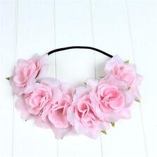Pink Rose Flower Headband Hair Crown Festival Boho Garland Elastic Hairband